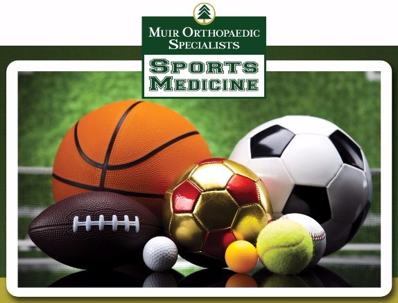 Various sports balls with the MOS sports medicine logo