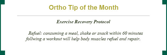 Ortho tip of the month: exercise recovery protocol